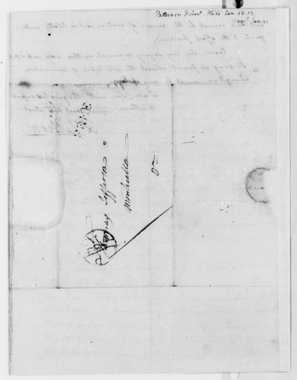 Robert Patterson to Thomas Jefferson, January 12, 1813