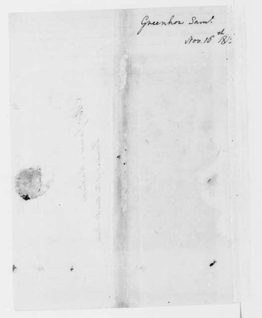 Samuel Greenhow to James Madison, November 16, 1813.