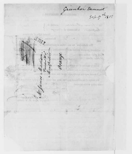 Samuel Greenhow to James Madison, September 17, 1813. Circular-Insurance Premium.