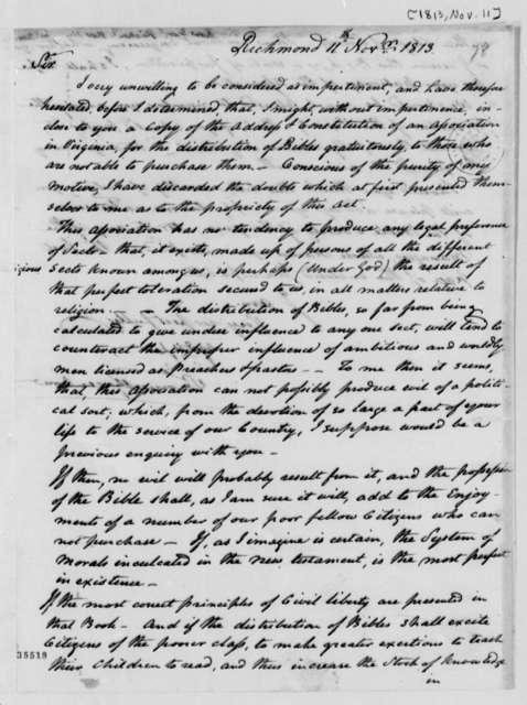 Samuel Greenhow to Thomas Jefferson, November 11, 1813