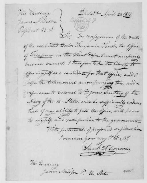 Samuel T. Conover to James Madison, April 23, 1813.