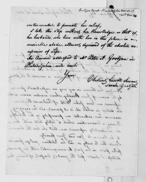 Sarah Grotjan to Thomas Jefferson, March 15, 1813