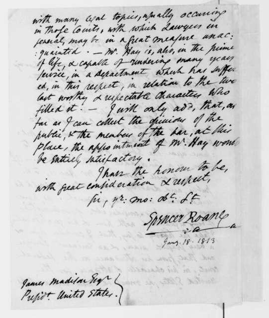 Spencer Roane to James Madison, January 18, 1813.