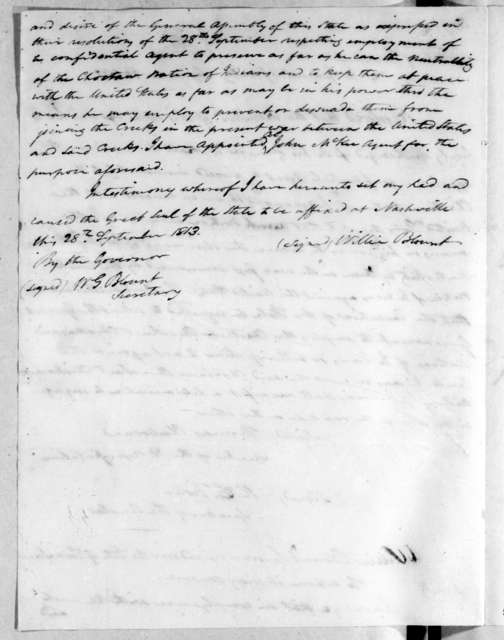 Tennessee Legislature, September 28, 1813