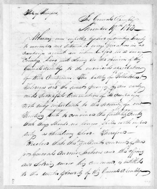 Tennessee Legislature to Tennessee Volunteer Brigade, November 19, 1813