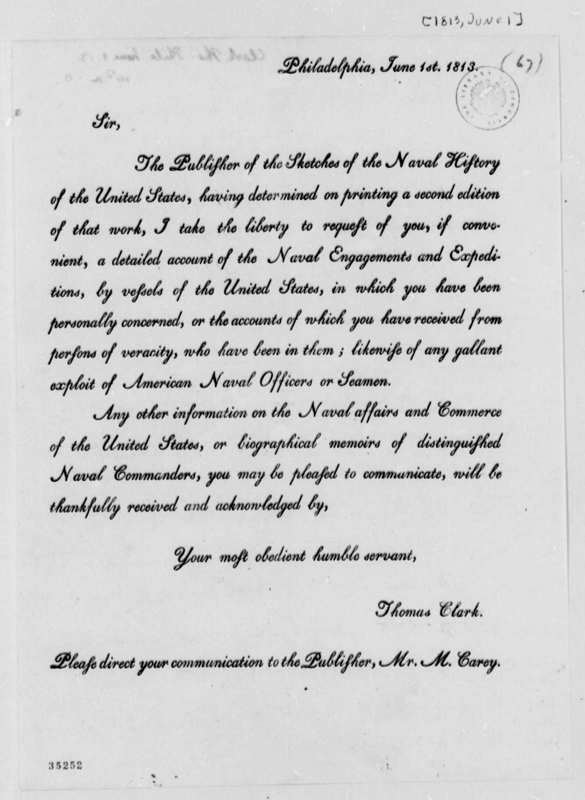 Thomas Clark to Thomas Jefferson, June 1, 1813, Circular Letter
