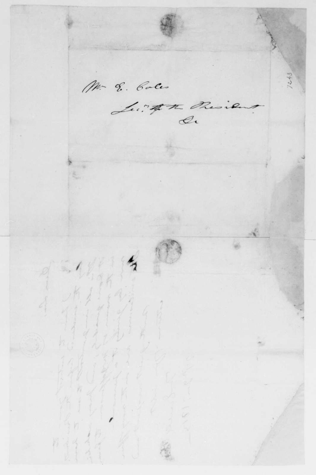 Thomas Ewell to Edward Coles, January 27, 1813.