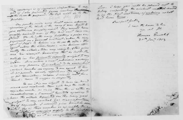 Thomas Ewell to James Madison, January 20, 1813.