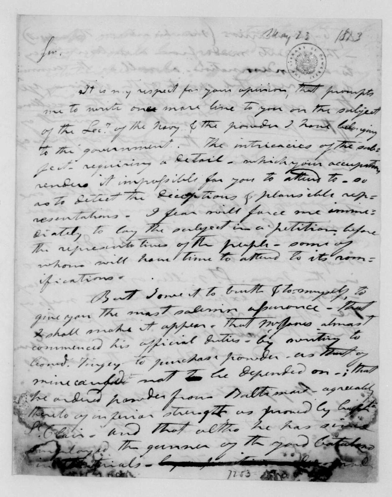 Thomas Ewell to James Madison, May 23, 1813.