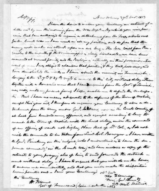 Thomas Flournoy to Willie Blount, December 27, 1813