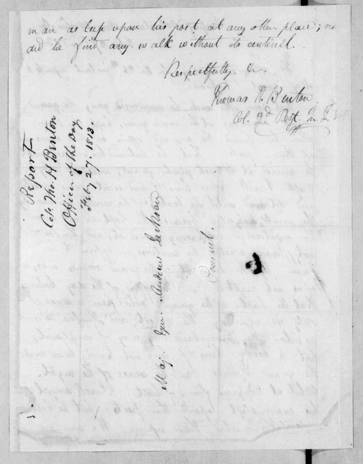 Thomas Hart Benton to Andrew Jackson, February 27, 1813