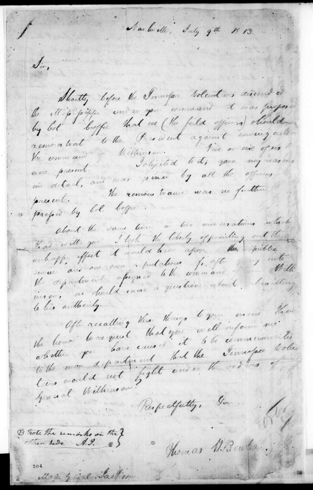 Thomas Hart Benton to Andrew Jackson, July 9, 1813