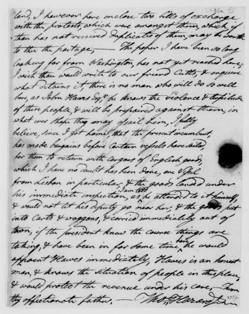 Thomas Hazard Jr. to Jacob Barker, September 19, 1813. Fragment-Last Page Only.