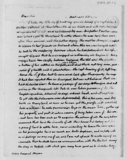 Thomas Jefferson to Andrew Moore, October 2, 1813