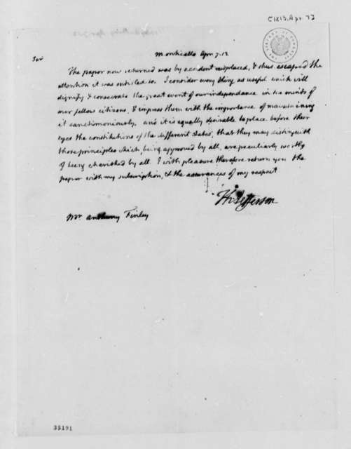 Thomas Jefferson to Anthony Finley, April 7, 1813