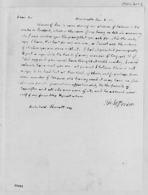 Thomas Jefferson to Archibald Thweatt, January 8, 1813