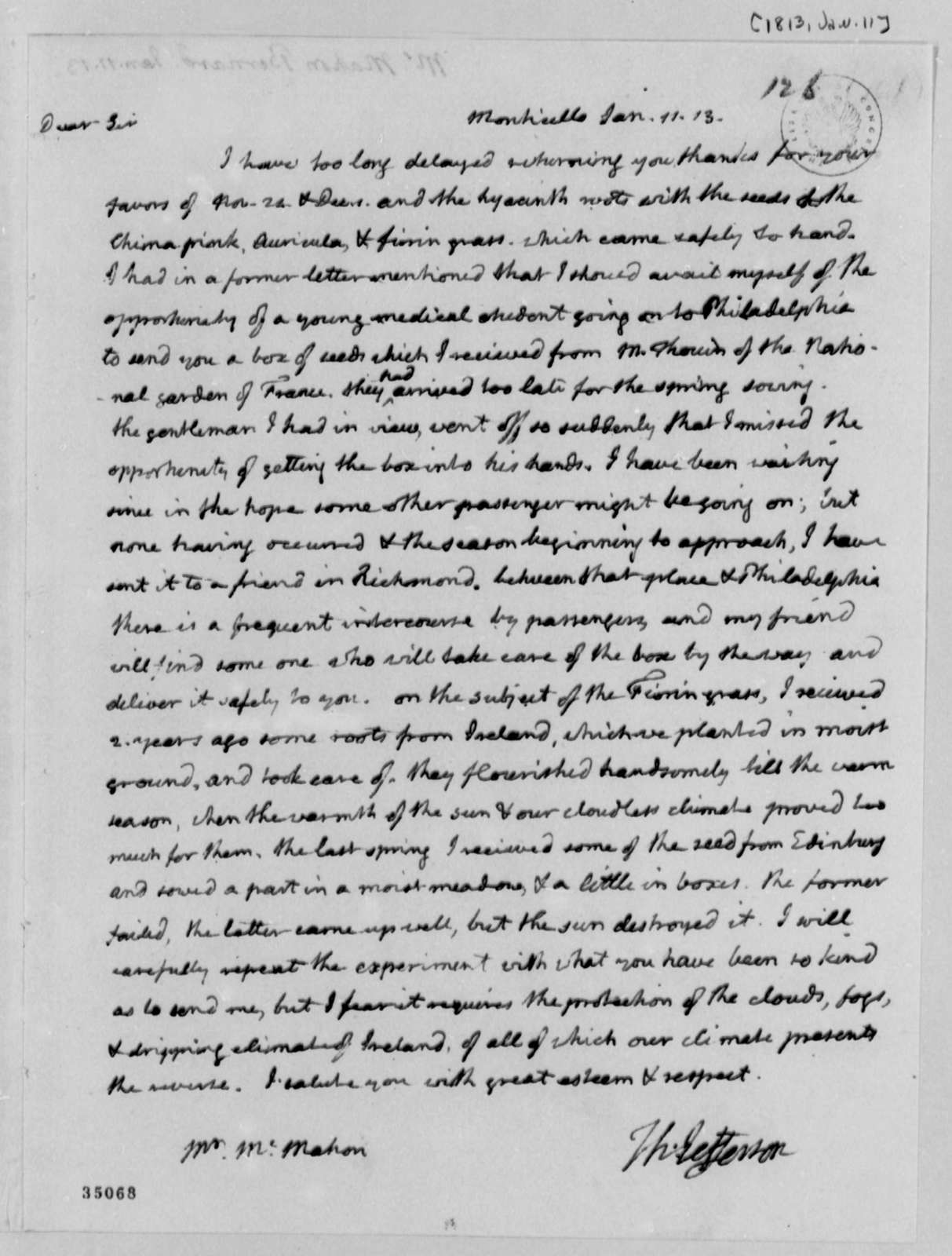 Thomas Jefferson to Bernard McMahon, January 11, 1813