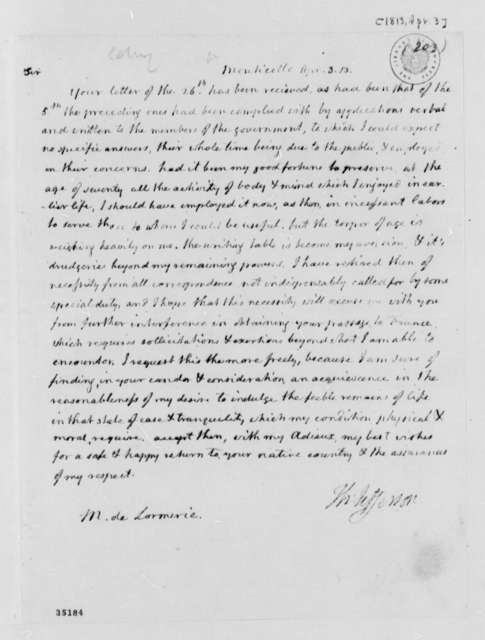 Thomas Jefferson to De Lormerie, April 3, 1813