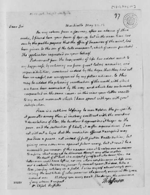 Thomas Jefferson to Elijah Griffiths, May 22, 1813