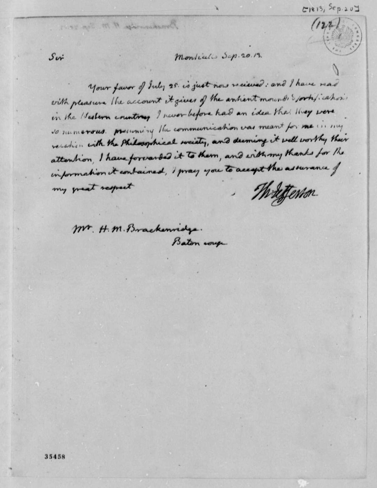 Thomas Jefferson to Henry Marie Brackenridge, September 20, 1813