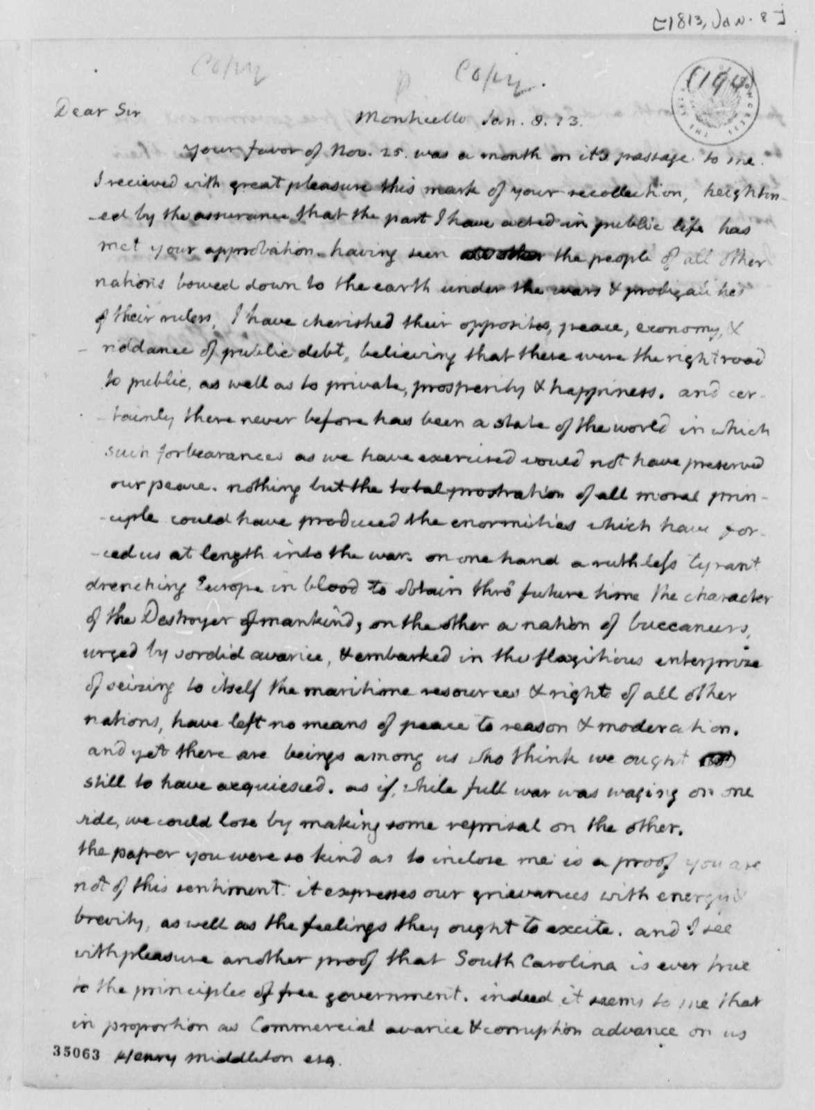 Thomas Jefferson to Henry Middleton, January 8, 1813
