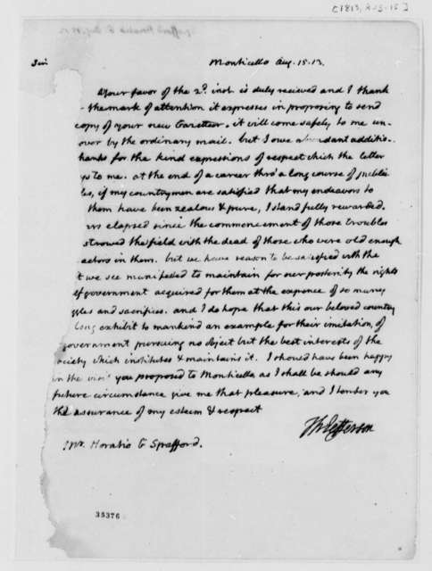 Thomas Jefferson to Horatio G. Spafford, August 15, 1813, Mutilated