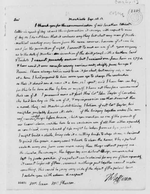 Thomas Jefferson to Isaac McPherson, September 18, 1813