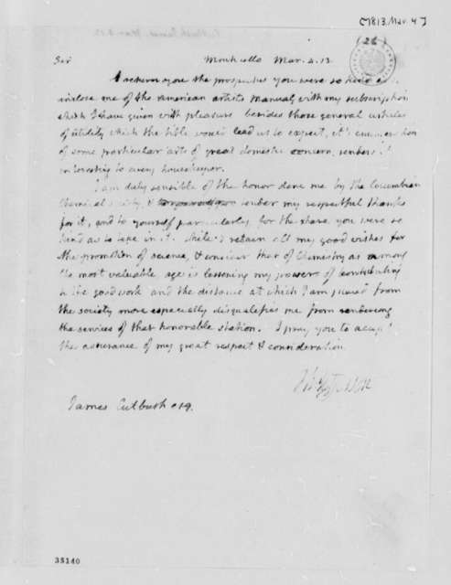 Thomas Jefferson to James Cutbush, March 4, 1813