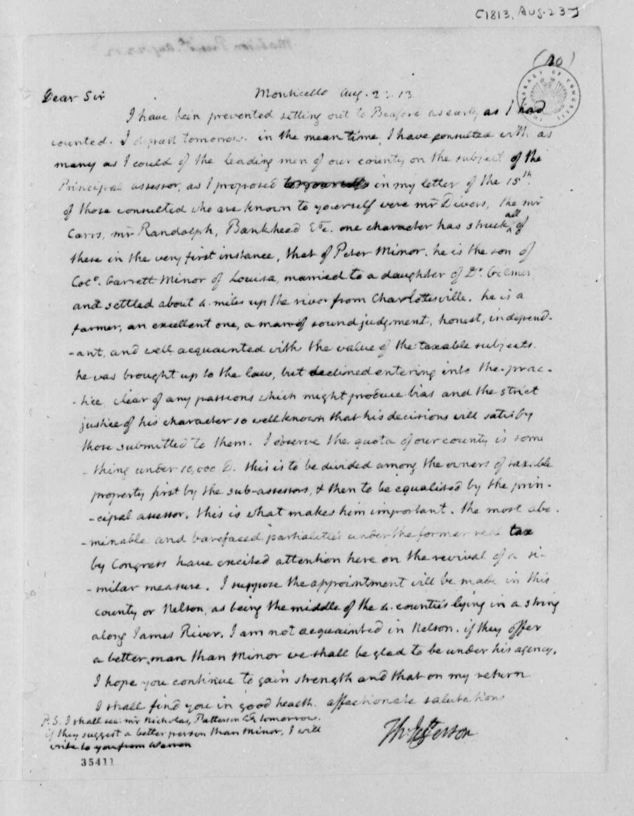 Thomas Jefferson to James Madison, August 23, 1813