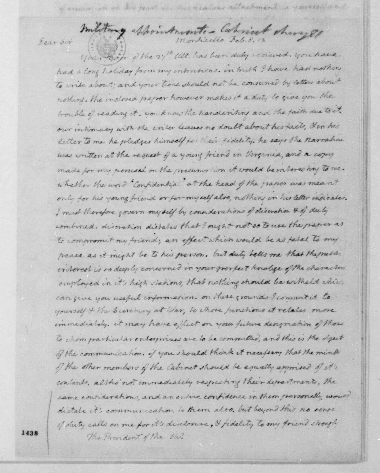 Thomas Jefferson to James Madison, February 8, 1813.
