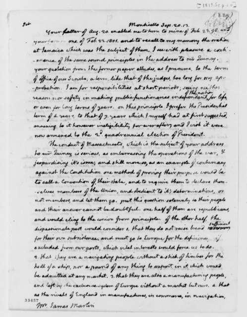Thomas Jefferson to James Martin, September 20, 1813