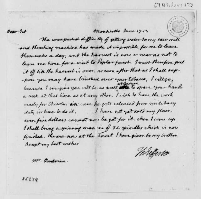 Thomas Jefferson to Jeremiah Goodman, June 17, 1813