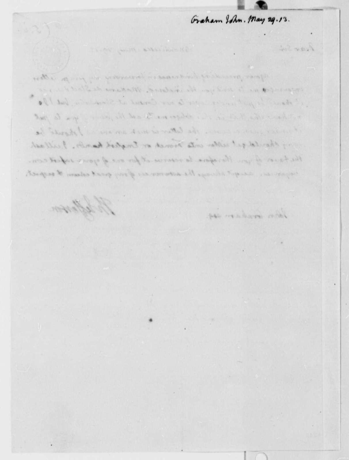 Thomas Jefferson to John A. Graham, May 29, 1813