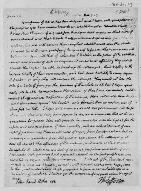Thomas Jefferson to John Jacob Astor, November 9, 1813