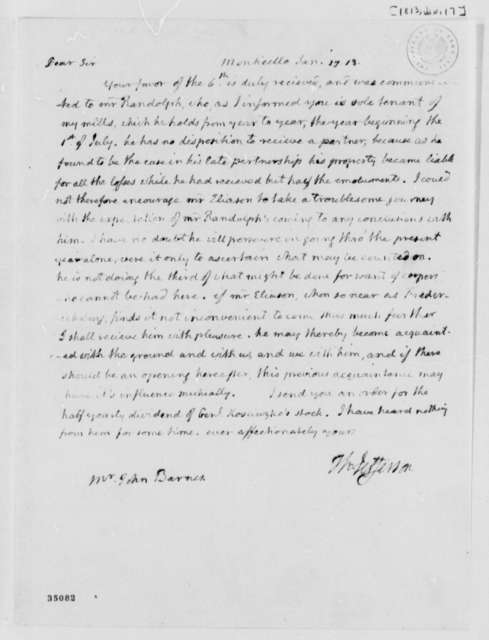 Thomas Jefferson to John S. Barnes, January 17, 1813