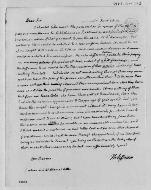 Thomas Jefferson to John S. Barnes, June 28, 1813