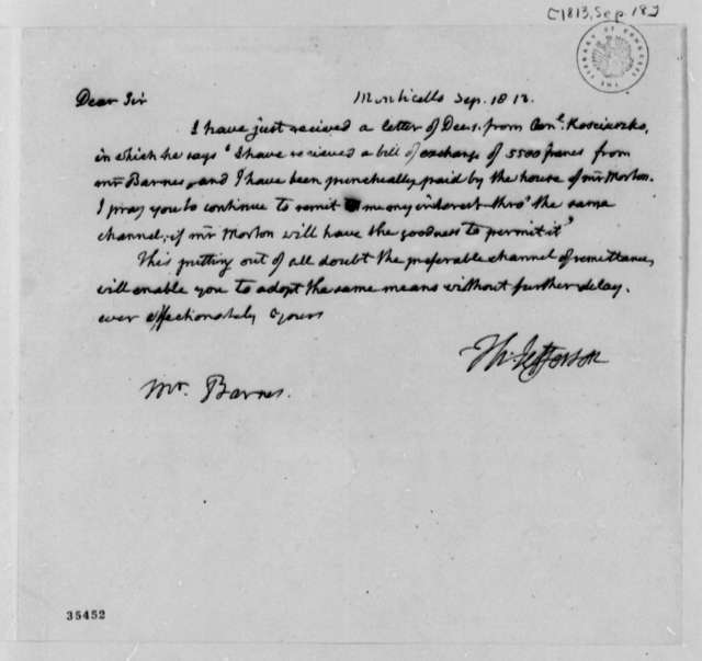Thomas Jefferson to John S. Barnes, September 18, 1813