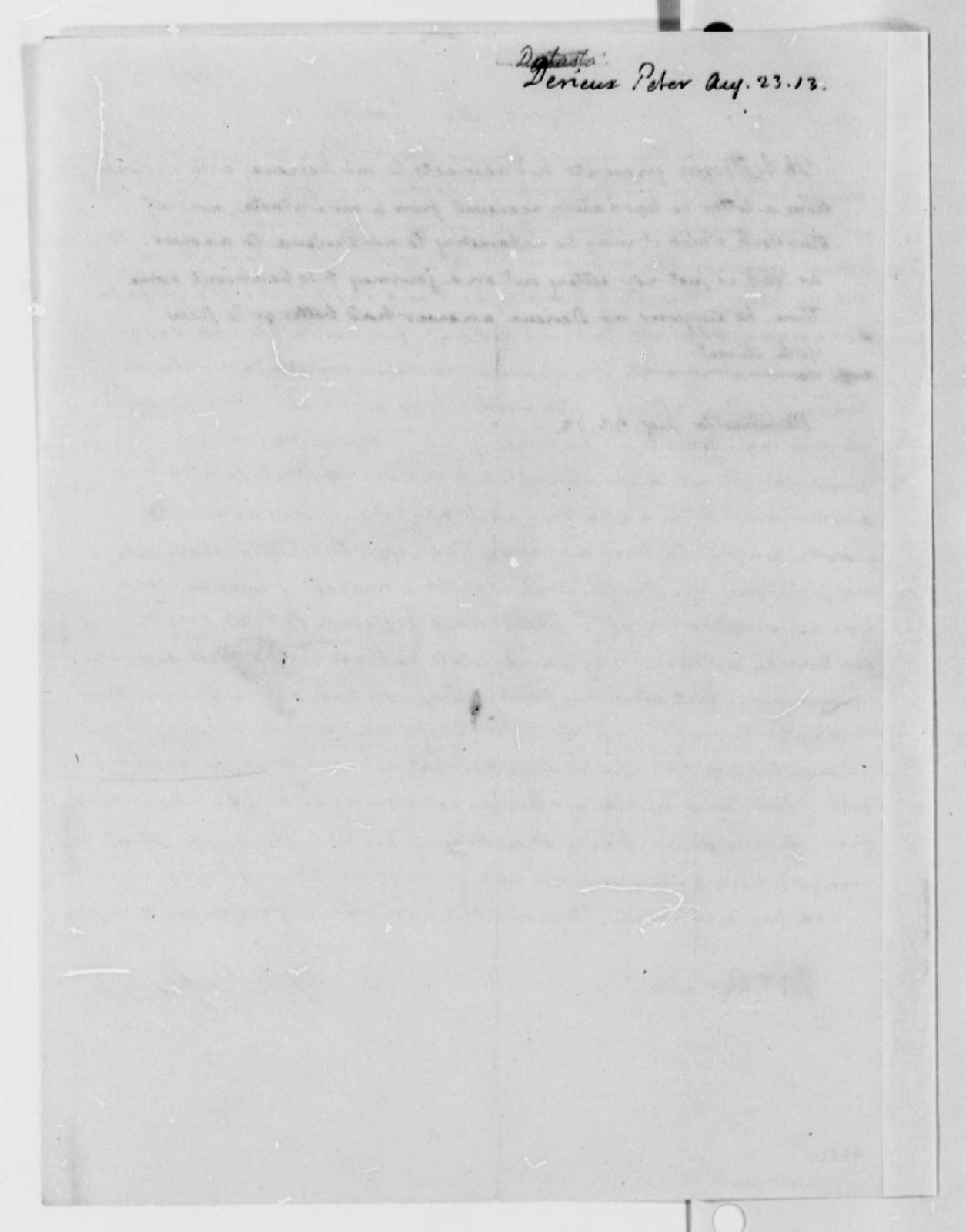 Thomas Jefferson to Justin Pierre Plumard Derieux, August 23, 1813