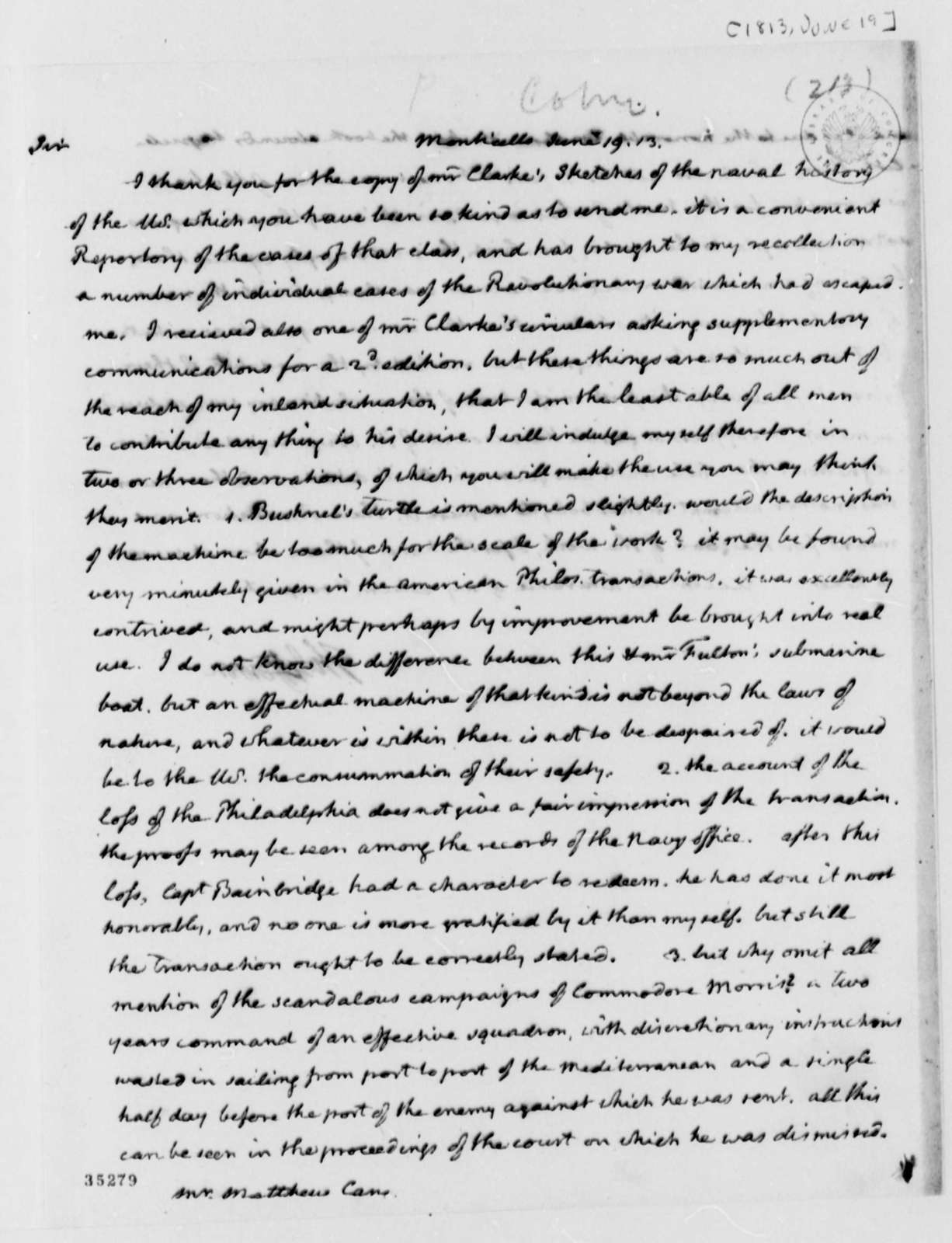 Thomas Jefferson to Matthew Carey, June 19, 1813