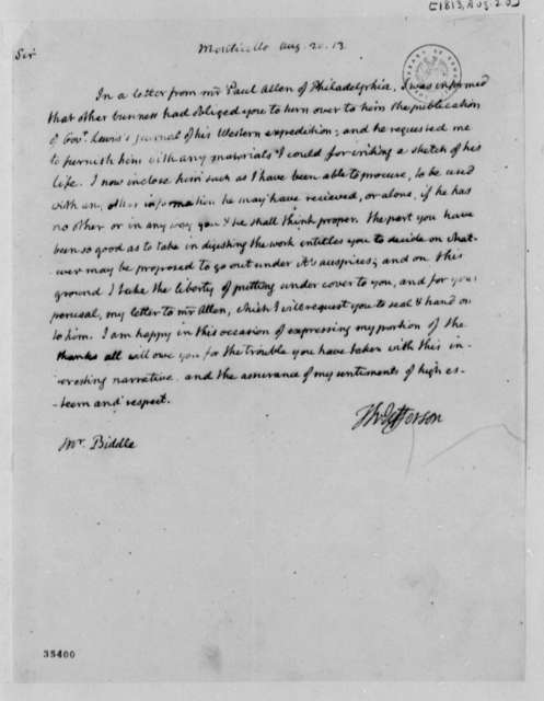 Thomas Jefferson to Nicholas Biddle, August 20, 1813