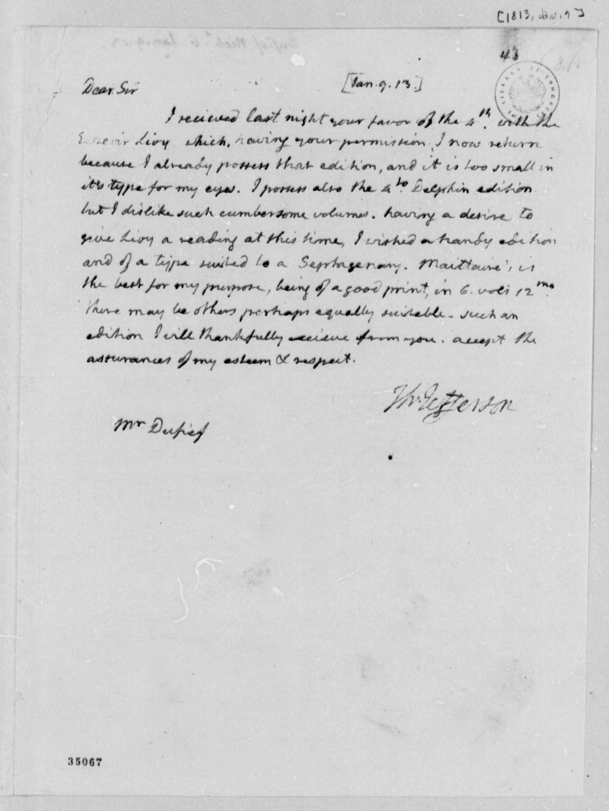Thomas Jefferson to Nicholas Gouin Dufief, January 9, 1813