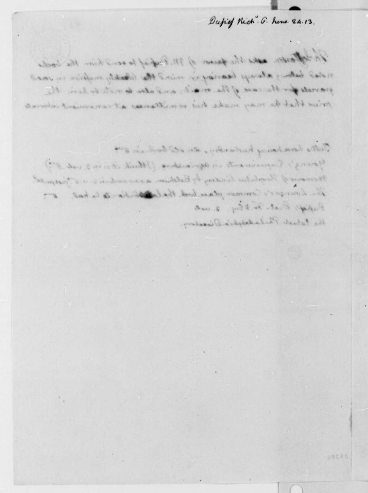 Thomas Jefferson to Nicholas Gouin Dufief, June 24, 1813, with List of Books