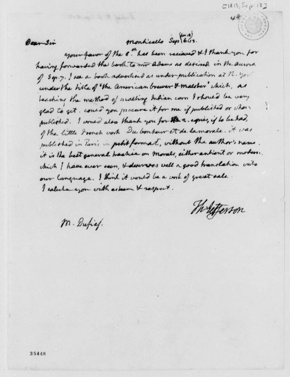 Thomas Jefferson to Nicholas Gouin Dufief, September 18, 1813