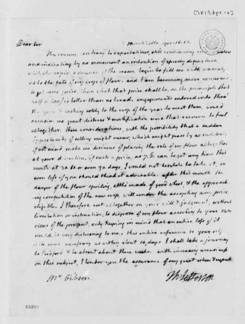 Thomas Jefferson to Patrick Gibson, April 16, 1813