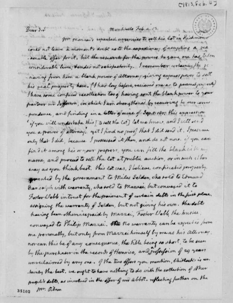 Thomas Jefferson to Patrick Gibson, February 4, 1813