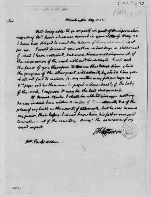 Thomas Jefferson to Paul Allen, August 5, 1813