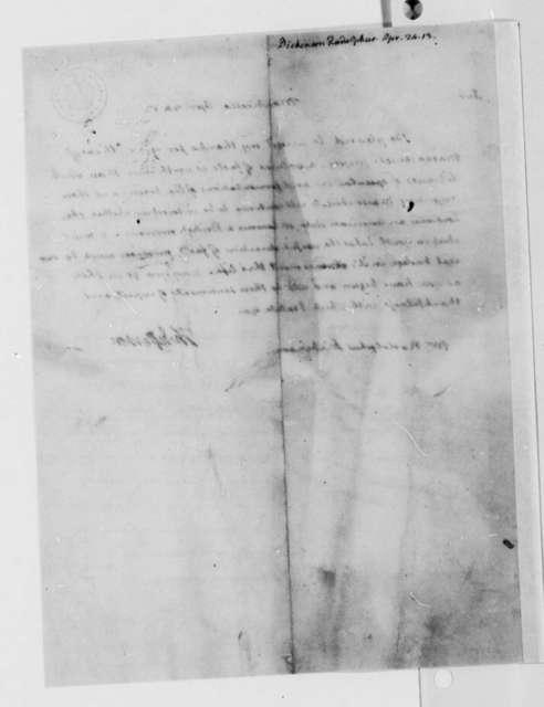 Thomas Jefferson to Rodolphus Dickinson, April 24, 1813