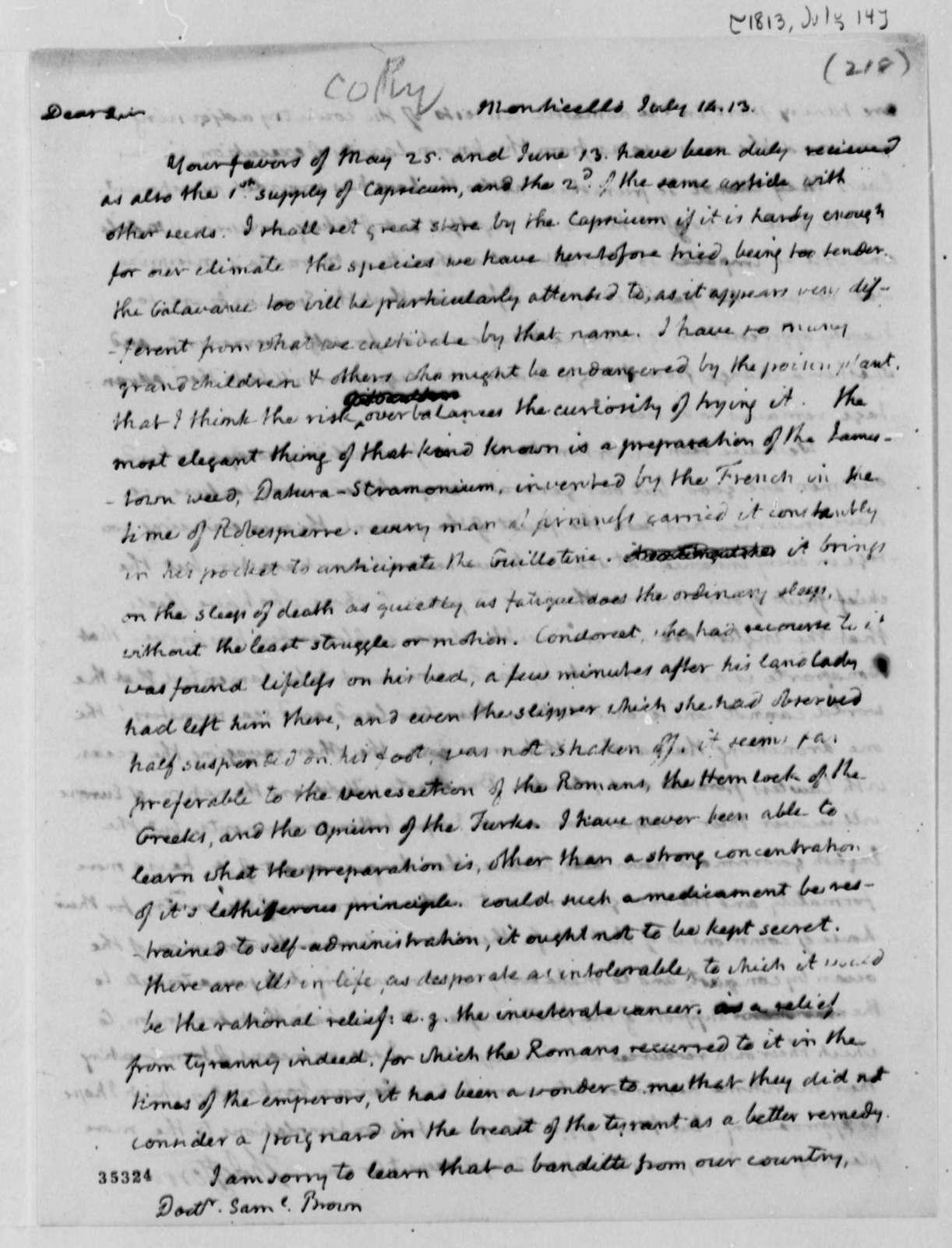 Thomas Jefferson to Samuel Brown, July 14, 1813