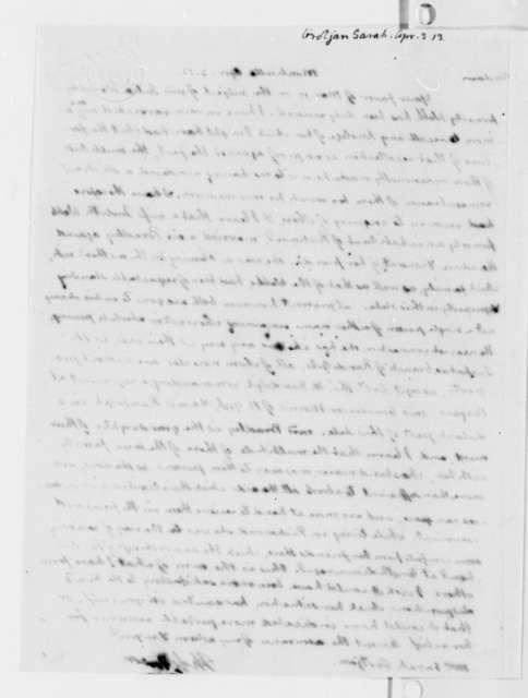 Thomas Jefferson to Sarah Grotjan, April 3, 1813