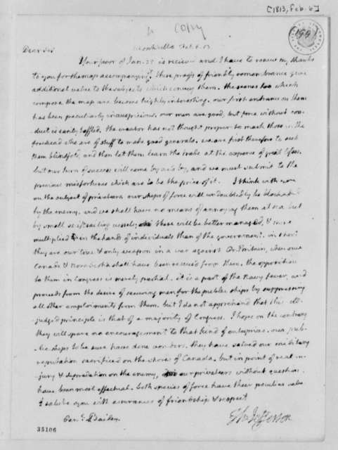 Thomas Jefferson to Theodorus Bailey, February 6, 1813